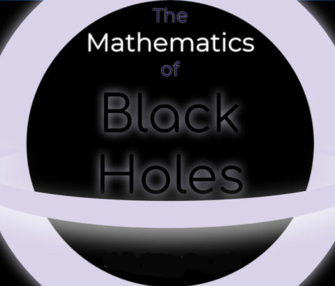 Graphic representing black hole with words mathematics of black holes