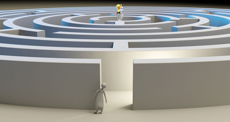 figure staring into a maze, at centre is someone holding up a gold cup