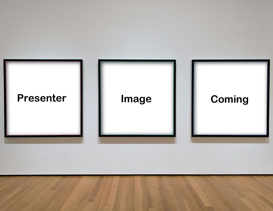empty frames on gallery wall marked presenter image coming