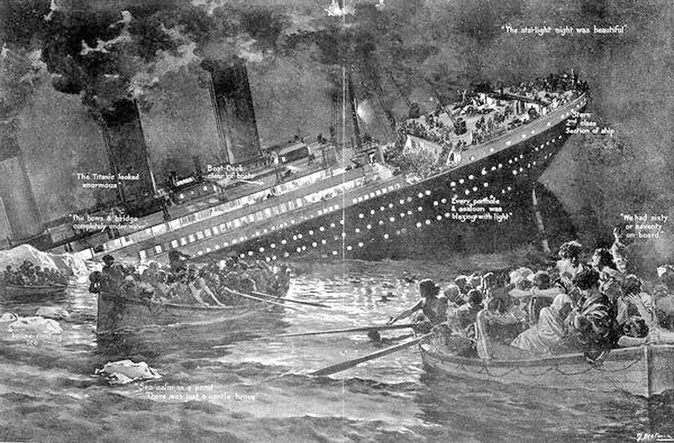 black and white image of a painting of the sinking of the Titanic