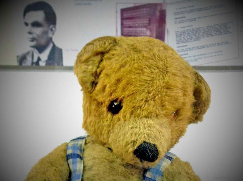 Image of Alan Turing behind a teddy bear