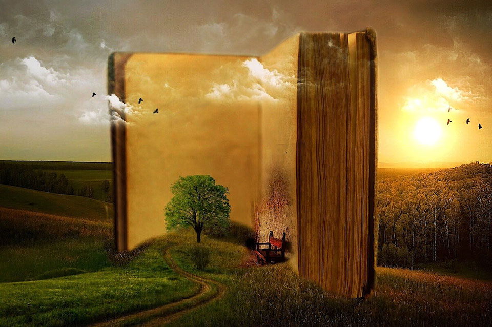 Fantasy picture based around a book spilling out countryside into the world around it