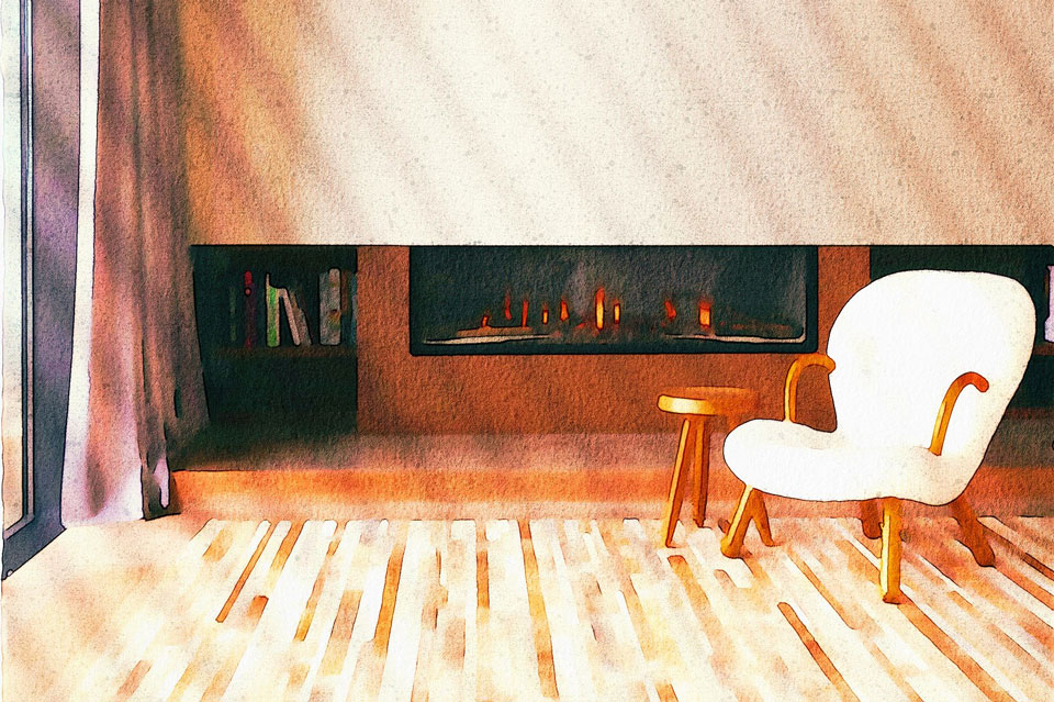 Empty chair in a living room, in front of a fire