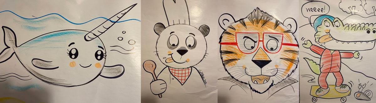 Images from Liz Million's Drawalong session - cartoon narwhal, panda, tiger, crocodile skateboarding
