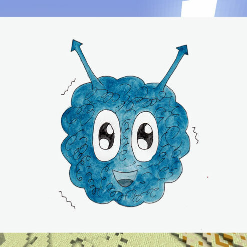 Blue cute alien on a screen with a minecraft background