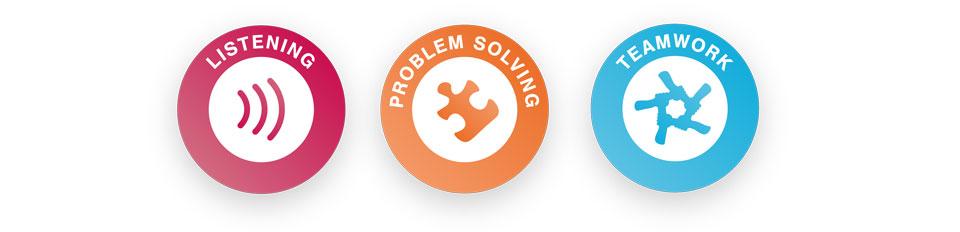 Skillsbuilder logos listening, problem solving, teamwork